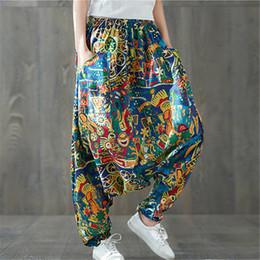 Wholesale ethnic pants woman resale online – Women Boho Harem Pants Loose Oversized Blended Cotton Streetwear Hip Hop Dance Trousers Ethnic Print Hippie Pant