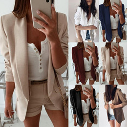 Wholesale business woman suit resale online - Women Turn Down Collar Suit Jacket Autumn Solid Lapel Slim Fit coat Jacket Ladies Business Office Coat Cardigan Outerwear Tops