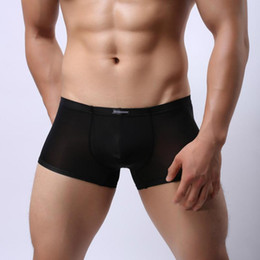 Wholesale mens pouch pants resale online - Fashion Mens Underwear Super Soft Ice Silk Boxers Men Sexy Bulge Pouch Smooth Trunks Shorts Boxers Breathable Thin Tight Pants