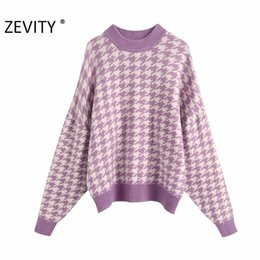 Wholesale batwing knitting pattern resale online - ZEVITY women vintage houndstooth pattern pullovers knitting sweater ladies batwing sleeve casual autumn sweaters chic tops S410