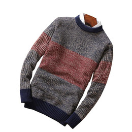 Wholesale long sleeve red wool dress for sale - Group buy Winter Dress Long Sleeve Male Knitting Sweater Tee Color Stitching High Quality Streetwear Pullover Sweaters Camel Navy Red XXL
