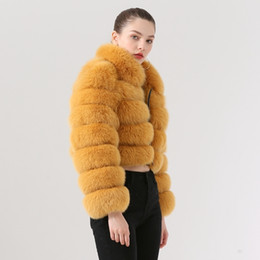 Wholesale model short coat women resale online - QIUCHEN PJ19021 New arrival real fox fur women winter short coat Fashion model High quality fox fur coat
