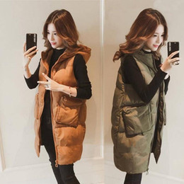 Wholesale long puffer vest resale online - Autumn Winter Cotton Coats Vest Thick Women Ladies Casual Waistcoat Female Sleeveless Long Vest Jacket Slim Fit Warm Puffer Coat