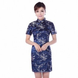 traditional chinese dresses evening Australia - Rayon Classic Women Chinese Dresses Short Sleeve Traditional Cheongsam Mini Vestidos Evening Party Gowns Flower Qipao 6xl e35R#