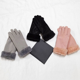 Wholesale Leather Winter Ski Finger Gloves Touch Screen Women Gloves Thicken Sports Ski Gloves Solid Color Warm Soft DHL Shipping