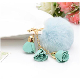 rabbit keyrings fur Canada - Rose Chain Fur Key SqcRUM Ball Pom Porte Keyring For Clef Chians Keychain Llavers Bag Charm Eh765 F Rabbit Fjnnq