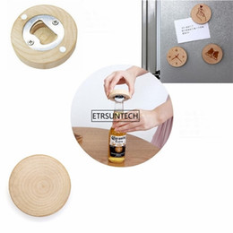 beer fridge wholesale UK - 10PCS Blank DIY Wooden Round Shape Bottle Opener Coaster Fridge Magnet Decoration Beer Bottle Opener 201208