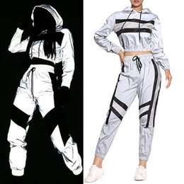 Wholesale hooded block resale online - 2 Women Reflective Outfits Adults Long Sleeve Color Block Hooded Crop Top Pants with Drawstring
