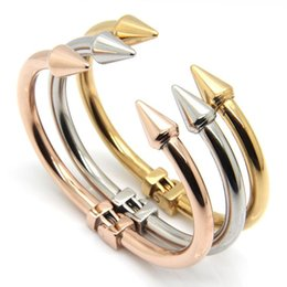 gold stainless steel cuff bracelet NZ - 2015 TOP QUALITY Stainless Steel Conical Arrows Bracelet Women's 18K Rose Gold Bangle Cone Nail Cuff Bracelets & Bangle