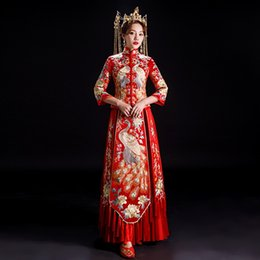 Wholesale ancient wedding dresses for sale - Group buy LJPDC Xiuhefu bride wedding show women Costume ancient wedding dress Chinese thin toast dress spring men and Formal suit peacock and summer B