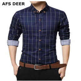 Wholesale mens causal shirt for sale - Group buy Men s Cotton Long Sleeve Plaid Slim Fit Button Down Dress Shirt checked style male causal shirt mens clothing plus size