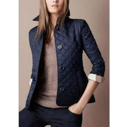 Wholesale clothes london for sale - Group buy Women Quilted Diamond Jacket Blazer London England Motorcycle Jackets Cotton Casual Female Fashion Clothing Lady Jersey Coats Outwear Black