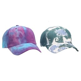 scarf trends 2020 - Fashion Tie-dye Baseball Cap Spring Men Women Trend Lovers Colorful Hat Outdoor Adjustable Graffiti discount scarf trend