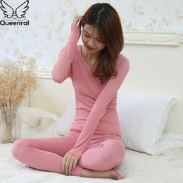 Wholesale thermal underwear for winter resale online - Queenral Women s Thermal Underwear Long Johns Thermo Lingerie Pajamas Female Winter Inner Wear For Women Thermal T shirt
