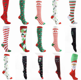 Wholesale free people clothing resale online - 2020 Christmas Adults Long Socks Cartoon Snowman Striped Printed Women Men Christmas Socking Casual Sports Winter Home Clothes E101601