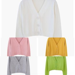 Wholesale women shawl collar cardigan sweater for sale - Group buy iroY0 Online coat Sweater V collar avocado green knitted cardigan coat women s fashion short high coatcelebrity long sleeve shawl waist outer