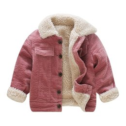 Wholesale corduroy coats for girls resale online – New Winter Lamb Wool Coat Girls Kids Single Breasted Corduroy Jackets for Years Olds Thicken Fleece Pockets Coats C1012