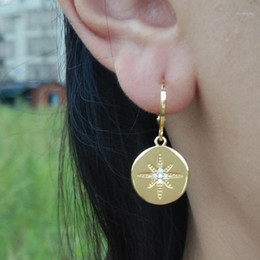 Wholesale oro gold resale online - Astral Star Charm Hoop Earrings Gold Copper Plating Gold Earrings Woman Jewelry pendientes aros oro Ear Piercing CZ Hoops1