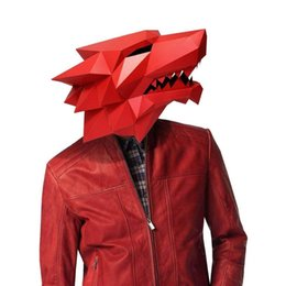 diy cosplay Australia - Costume 3D Fashion Werewolf Animal Cosplay DIY Paper Craft Model Mask Christmas Halloween Prom Party Gift
