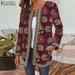 Wholesale thin vintage print jacket women for sale – winter Vintage Floral Printed Thin Coats ZANZEA Women Autumn Cardigan Open Stitch Jackets Casual Long Sleeve Outwear Jackets Plus Size7