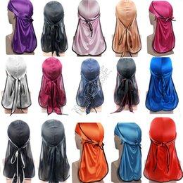 Durags Designer Silky Durag Long Tail Dorag Premium Silk Wave Waver Caps Bandana Turban Wigs Headwrap Headband Solid Color Pirate