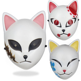 Wholesale japanese demon mask resale online - Adult Kids Japanese Anime Demon Killer Cosplay Animal Mask Halloween Masquerade Festival Costume Accessories Party Props