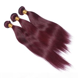 cheap red straight weave human hair UK - 3Pcs lot Brazilian Human Hair Extensions Straight Red Wine Color Hair Weaves Burgundy Cheap Bundles 99J Human Hair Weaving