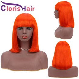 chinese bangs remy hair 2021 - Orange Colored Human Hair Bob Wig With Bangs For Black Women 150% Straight Brazilian Remy Human Hair Pixie Cut Short Front Non Lace Wig