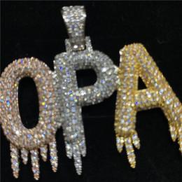 Solid Back Drip Bubble Custom Name Necklace Letters Pendant Necklaces For Men Women Gold Color Cubic Zircon Hip Hop Jewelry