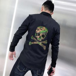 casual shirt design pattern 2021 - Camouflage Pattern Anti-Wrinkle Men's Shirt Brand Slim Long Sleeve Super Shiny Diamond Skull Exaggerated Design