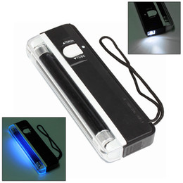 Wholesale 10pcs UV Lights Ultraviolet disinfection Lamp 2 In 1 UV Light Handheld Torch Portable Fake Money ID Detector Lamp Lamps Tools Tool