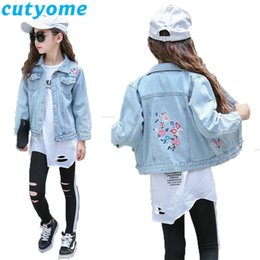 blue denim jacket coat girls 2021 - Baby Girls Spring Jeans Jacket Light Blue Floral Embroidery Denim Casual Kids Princess Costume Outerwear Coat Children's Clothes C1021