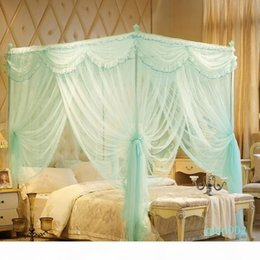 romantic lace queen bedding sets UK - Court style Romantic Lace Three-door Double Bed mosquito net Have frame Full Queen King Size Home Decoration bedding set