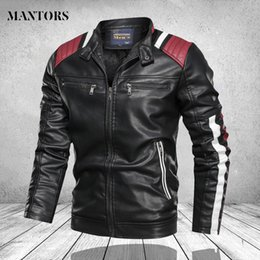Wholesale bomb jacket for sale – winter Men s winter leather jacket after cutting adjusted men s leather jacket Pu collar sportswear men s bomb coat