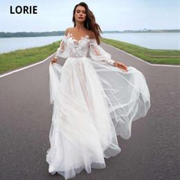 LORIE 2020 A-line Beach Wedding Dress Long Sleeve Sweep Train Bridal Dress Custom Made Princess Wedding Gowns Boho Plus Size