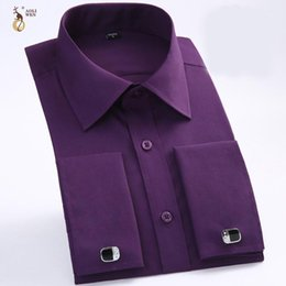 Wholesale flannel shirts for men for sale - Group buy Aoliwen men French dress shirt with Cufflinks Flannel long sleeve high quality smart casual shirt for men spring and autumn1
