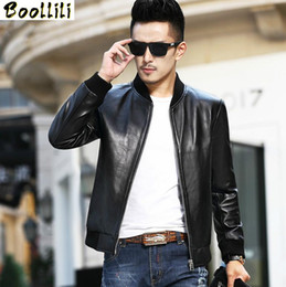 Wholesale leather sheepskin jacket for men for sale - Group buy Boollili Men s Leather Jacket Short Genuine Sheepskin Leather Coat for Men Spring Autumn Bomber Jacket Veste Cuir Homme