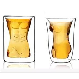 Wholesale sexy drink online – design 160ML Crystal Whiskey Wine Drinking Cup Sexy Man Shot Glass KTV Cup Handsome Abdominal Muscle Shot Beer Glasses Pint Juice Glass