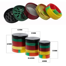 rasta accessories wholesale Canada - Rasta Color Aluminum Smoking Herb Grinder With Silicone Stash Catcher 40mm 55mm 63mm Metal Tobacco Herbal Grinder Crusher Accessories GR302