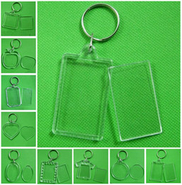 Photo Frame Keychain Clear Acrylic Plastic Blank Keyrings Insert Passport Photo Frame Keychain Picture Frame Keyrings Party Gift FWA450 on Sale