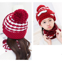 fur hats for kids UK - Hot Selling 3PCS Set Winter Scarf Set Thickend Knitted Hat Scarf Face Cover Outdoor for Women Kids -B5