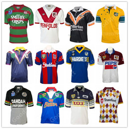 tiburones tigre al por mayor-Retro Rugby Jersey Australia Rooster Rainess Shark Cowboy Knight Storm Warrior Tiger Panthers Bronco Chiefss St George Conejo Sea Eagles Parramatta Eels Bear Shirts