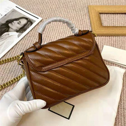 Wholesale khaki colour for sale - Group buy Upgraded New Version Chains Strap Handbags BAgs Real Leather Caramel Colour Shoulder Bag Marmont Twill Women Handbags Double g Printing cm