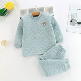 Wholesale thermal underwear for winter resale online - 3 Layer Winter Children Pajamas Set Thicken Warm Underwear For Boys Girls Solid Color Toddler Thermal Underwear Kids Pyjamas