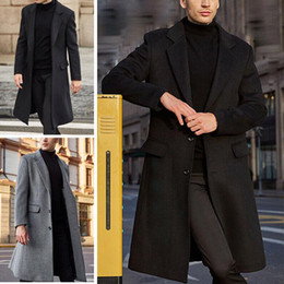 Wholesale woolen men s outerwear resale online - Men Winter Coats Woolen Solid Long Sleeve Jackets Fleece Male Overcoats Streetwear Fashion Long Trench Outerwear XL