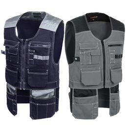 Multifunction Multi Tool Multi-pocket T C Twill Workwear Vest Waistcoat for Maintenance fz0891