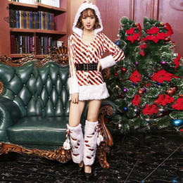Wholesale women xmas costume for sale – halloween Christmas Swing Dress Adult Costume Fancy Dress Xmas Stripe Clothing Xmas Dresses Women Evening Party Clothes Winter Warm