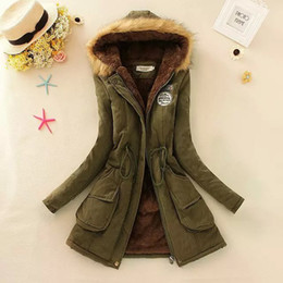 Wholesale lambs wool fur coat resale online - Winter Thickened Coat Large Size Hooded Mid length Cotton padded Coat Fur Collar Lamb Wool Drawstring Cotton padded Coat Women s Extra Large