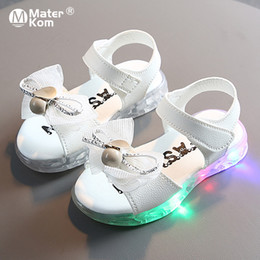 crochet baby shoes sizes Australia - Size 21-30 Princess Shoes Girls Luminous Sandals for Baby Breathable Led Light Up Shoes Children Anti-slippery Glowing Sandals