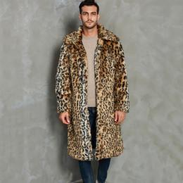 Wholesale leopard trench coat men resale online - Mens Leopard Print Lapel Coat Winter Autumn Long Faux Fur Jacket Trench Coats With Pockets Fashion Male Streetwear Plus Size X